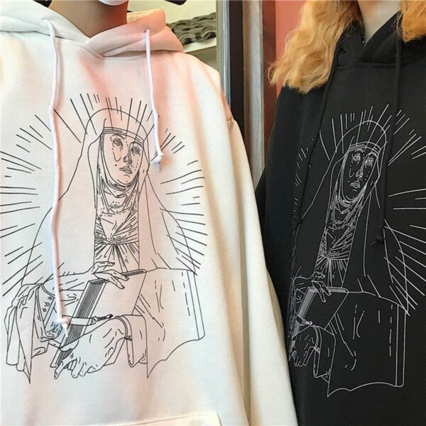 Saint Mother Mary Sketch Core Hoodie 1- Orezoria Aesthetic Outfits Shop - Aesthetic Clothing - eGirl Outfits - Soft Girl Outfits.psd