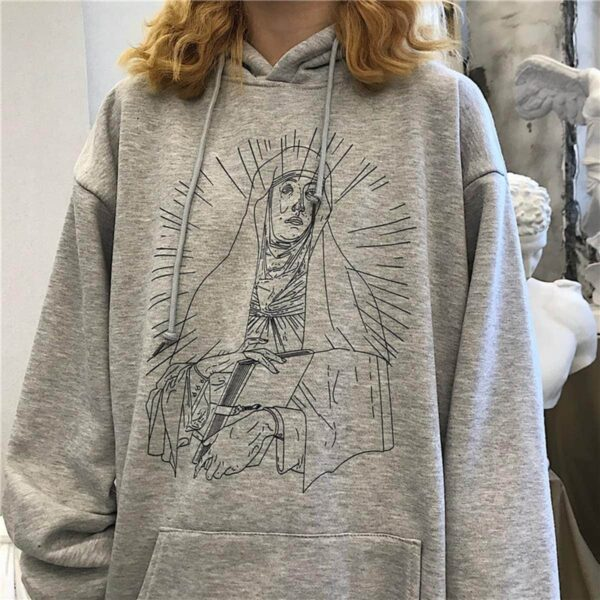 Saint Mother Mary Sketch Core Hoodie 4- Orezoria Aesthetic Outfits Shop - Aesthetic Clothing - eGirl Outfits - Soft Girl Outfits.psd