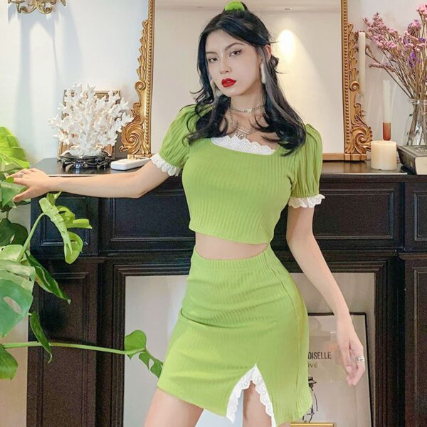 Salad Green Soft Girl Top and Skirt Set 1- Orezoria Aesthetic Outfits Shop - Aesthetic Clothing - eGirl Outfits - Soft Girl Outfits