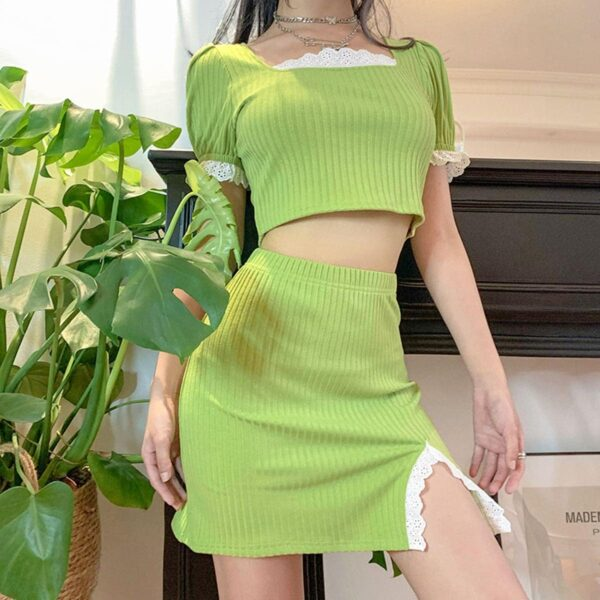 Salad Green Soft Girl Top and Skirt Set 4- Orezoria Aesthetic Outfits Shop - Aesthetic Clothing - eGirl Outfits - Soft Girl Outfits