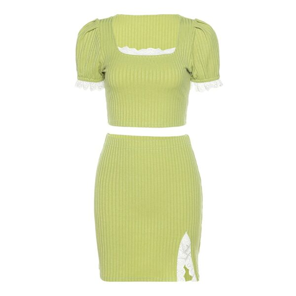 Salad Green Soft Girl Top and Skirt Set 5- Orezoria Aesthetic Outfits Shop - Aesthetic Clothing - eGirl Outfits - Soft Girl Outfits