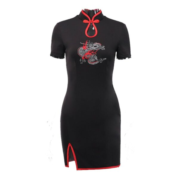 Scarlet Dragon Cheongsam Qi Pao Dress 4- Orezoria Aesthetic Outfits Shop - Aesthetic Clothing - eGirl Outfits - Soft Girl Outfits