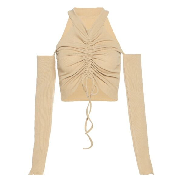 Separate Sleeves Beige Drawn Out Top 4- Orezoria Aesthetic Outfits Shop - Aesthetic Clothing - eGirl Outfits - Soft Girl Outfits