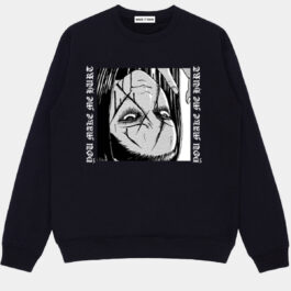 Shattered Face Anime Girl Sweatshirt 1 - Orezoria Aesthetic Outfits Shop - Aesthetic Clothing - eGirl Outfits - Soft Girl Outfits
