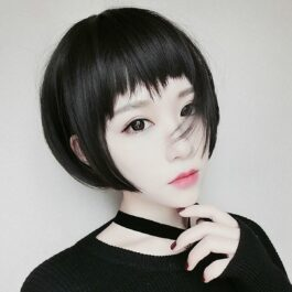 Short Bob Black Hair Doomer Girl Wig 1- Orezoria Aesthetic Outfits Shop - Aesthetic Clothing - eGirl Outfits - Soft Girl Outfits (2)