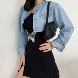 Short Cropped Loose Denim Jacket 1- Orezoria Aesthetic Outfits Shop - Aesthetic Clothing - eGirl Outfits - Soft Girl Outfits