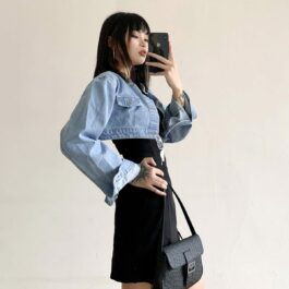 Short Cropped Loose Denim Jacket 2- Orezoria Aesthetic Outfits Shop - Aesthetic Clothing - eGirl Outfits - Soft Girl Outfits