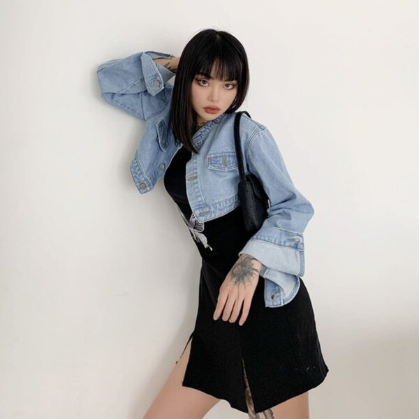 Short Cropped Loose Denim Jacket 4- Orezoria Aesthetic Outfits Shop - Aesthetic Clothing - eGirl Outfits - Soft Girl Outfits