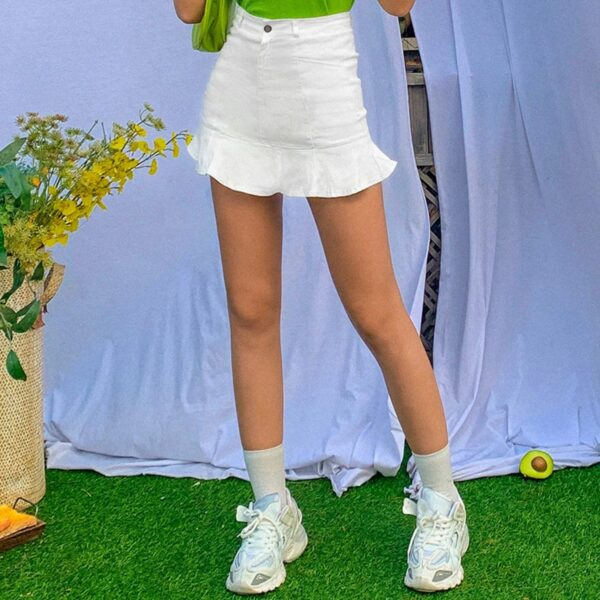 Short Lotus Leaf High Waist Skirt 2- Orezoria Aesthetic Outfits Shop - Aesthetic Clothing - eGirl Outfits - Soft Girl Outfits