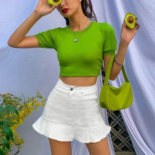 Short Lotus Leaf High Waist Skirt 3- Orezoria Aesthetic Outfits Shop - Aesthetic Clothing - eGirl Outfits - Soft Girl Outfits