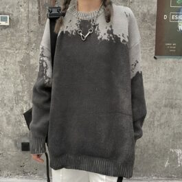 Shoulder Drops Grunge Knitted Sweater.1- Orezoria Aesthetic Outfits Shop - Aesthetic Clothing - eGirl Outfits - Soft Girl Outfits