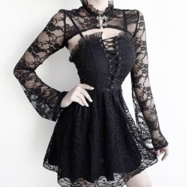 Shoulder Shawl Laced Gothic Aesthetic Top 1- Orezoria Aesthetic Outfits Shop - Aesthetic Clothing - eGirl Outfits - Soft Girl Outfits