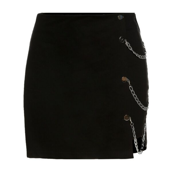 Side Chains Black High Waist Grunge Skirt 5- Orezoria Aesthetic Outfits Shop - Aesthetic Clothing - eGirl Outfits - Soft Girl Outfits