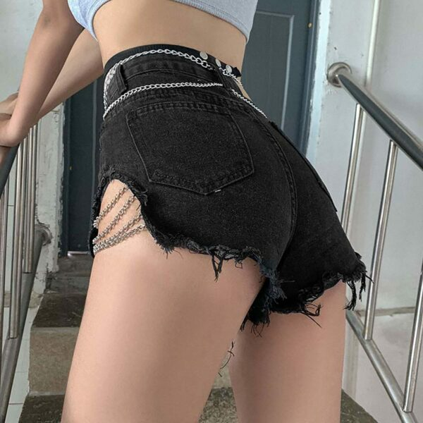 Side Cut Chains High Wait Denim Shorts - Orezoria Aesthetic Outfits Shop - Aesthetic Clothing - eGirl Outfits - Soft Girl