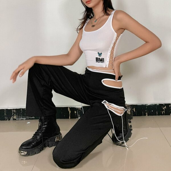 Side Cuts Lined High Waist Pants 1- Orezoria Aesthetic Outfits Shop - Aesthetic Clothing - eGirl Outfits - Soft Girl Outfits