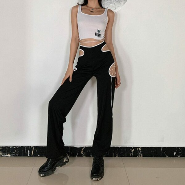 Side Cuts Lined High Waist Pants 2- Orezoria Aesthetic Outfits Shop - Aesthetic Clothing - eGirl Outfits - Soft Girl Outfits