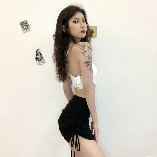 Side Lace Black High Waist Skirt 4- Orezoria Aesthetic Outfits Shop - Aesthetic Clothing - eGirl Outfits - Soft Girl Outfits