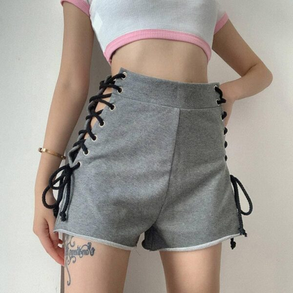 Side Laced High Waist Gray Shorts.1- Orezoria Aesthetic Outfits Shop - Aesthetic Clothing - eGirl Outfits - Soft Girl Outfits