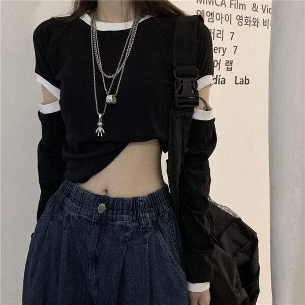 Side Sleeve Split Contrast Crop Top 1 - Orezoria Aesthetic Outfits Shop - Aesthetic Clothing - eGirl Outfits - Soft Girl Outfits.psd