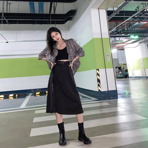 Side Split Long High Waist Black Skirt 2- Orezoria Aesthetic Outfits Shop - Aesthetic Clothing - eGirl Outfits - Soft Girl Outfits