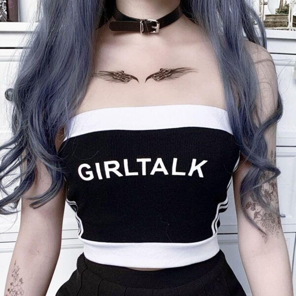 Side Striped Girl Talk Cropped Tube Top 1- Orezoria Aesthetic Outfits Shop - Aesthetic Clothing - eGirl Outfits - Soft Girl Outfits