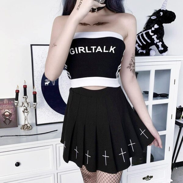 Side Striped Girl Talk Cropped Tube Top 4- Orezoria Aesthetic Outfits Shop - Aesthetic Clothing - eGirl Outfits - Soft Girl Outfits