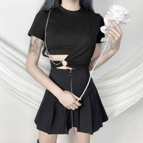 Side Twist Chain Ring Black EGirl Top 1- Orezoria Aesthetic Outfits Shop - Aesthetic Clothing - eGirl Outfits - Soft Girl Outfits