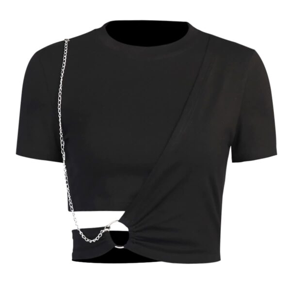 Side Twist Chain Ring Black EGirl Top 4- Orezoria Aesthetic Outfits Shop - Aesthetic Clothing - eGirl Outfits - Soft Girl Outfits