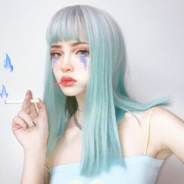 Silver Light Blue Gradient Aesthetic EGirl Wig 1- Orezoria Aesthetic Outfits Shop - Aesthetic Clothing - eGirl Outfits - Soft Girl Outfits (2)