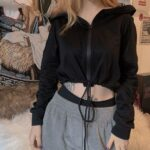 Simple Black Black Cropped Hoodie.1- Orezoria Aesthetic Outfits Shop - Aesthetic Clothing - eGirl Outfits - Soft Girl Outfits
