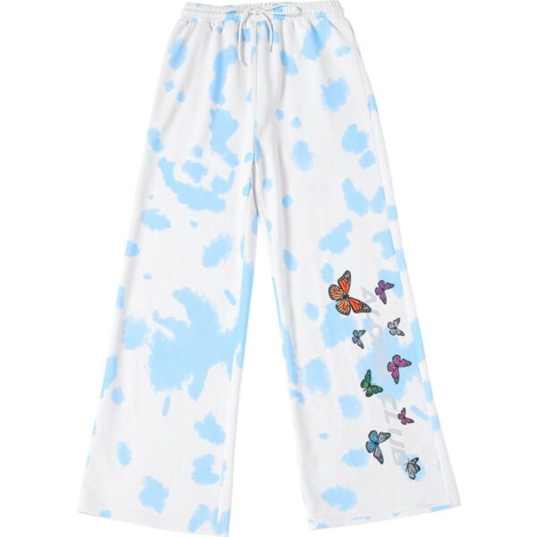 Sky Blue Clouds and Butterflies Pants - Orezoria Aesthetic Outfits Shop - Aesthetic Clothing - eGirl Outfits - Soft Girl Outfits.psd