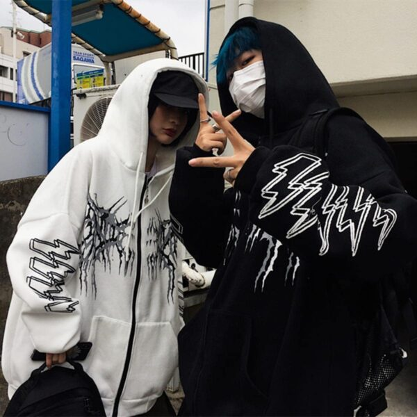 Sleeve Lightning Korean Grunge Hoodie 3- Orezoria Aesthetic Outfits Shop - Aesthetic Clothing - eGirl Outfits - Soft Girl Outfits
