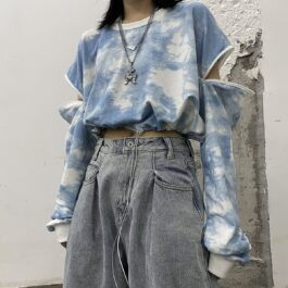 Sleeve Zipper Cloudy Tie Dye Crop Top - Orezoria Aesthetic Outfits Shop - Aesthetic Clothing - eGirl Outfits - Soft Girl