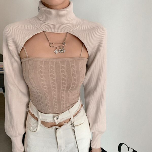 Sleeves and Neck Shoulders Short Top.1- Orezoria Aesthetic Outfits Shop - Aesthetic Clothing - eGirl Outfits - Soft Girl Outfits