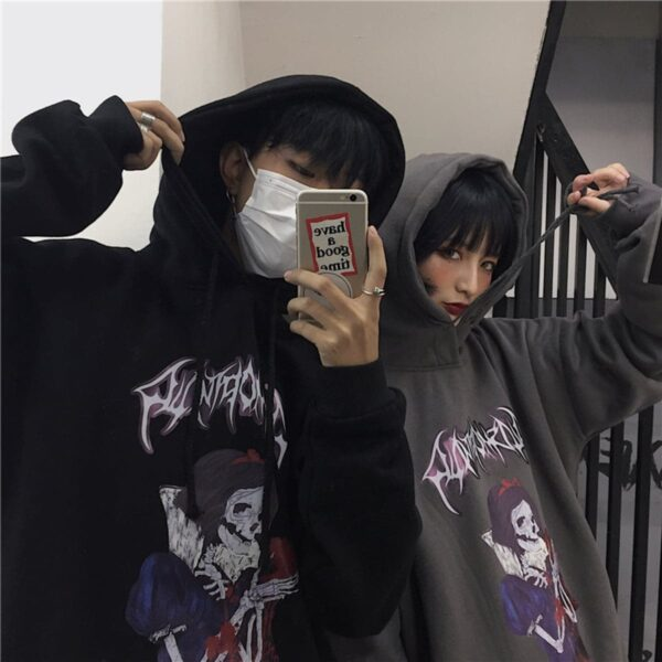 Snow White Dead Lich Hoodie 2- Orezoria Aesthetic Outfits Shop - Aesthetic Clothing - eGirl Outfits - Soft Girl Outfits