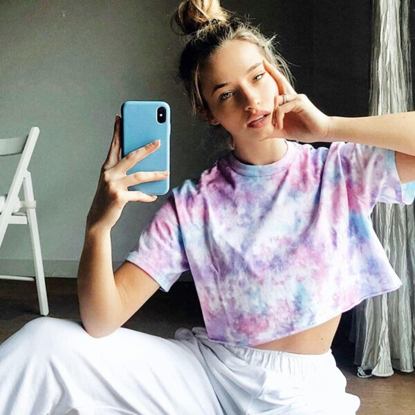 Soft Cloudy Pink Tie Dye Crop Top 2- Orezoria Aesthetic Outfits Shop - Aesthetic Clothing - eGirl Outfits - Soft Girl Outfits