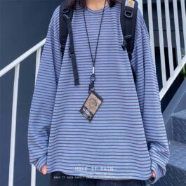 Soft Color Striped Loose Long Sleeve 3- Orezoria Aesthetic Outfits Shop - Aesthetic Clothing - eGirl Outfits - Soft Girl Outfits
