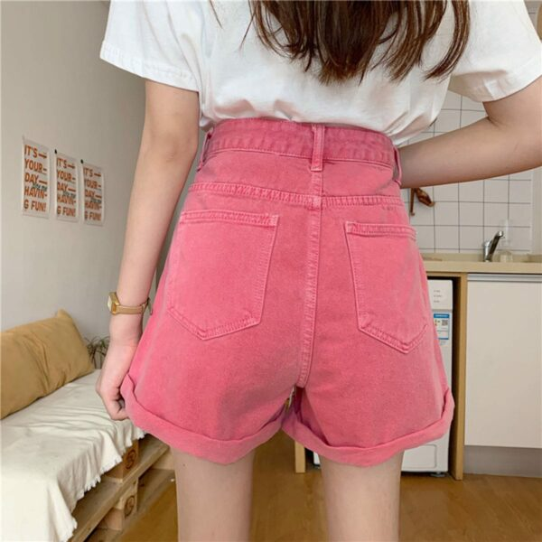 Soft Girl Bright Loose Denim Shorts.1- Orezoria Aesthetic Outfits Shop - Aesthetic Clothing - eGirl Outfits - Soft Girl Outfits