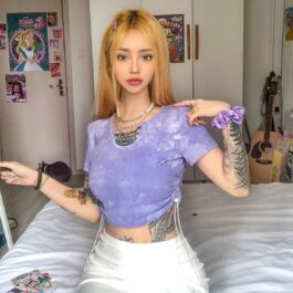 Soft Girl Purple Tie Dye Chains Crop Top.1- Orezoria Aesthetic Outfits Shop - Aesthetic Clothing - eGirl Outfits - Soft Girl Outfits