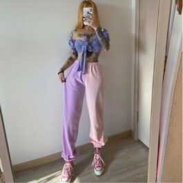 Soft Pastel Split Color High Waist Pants