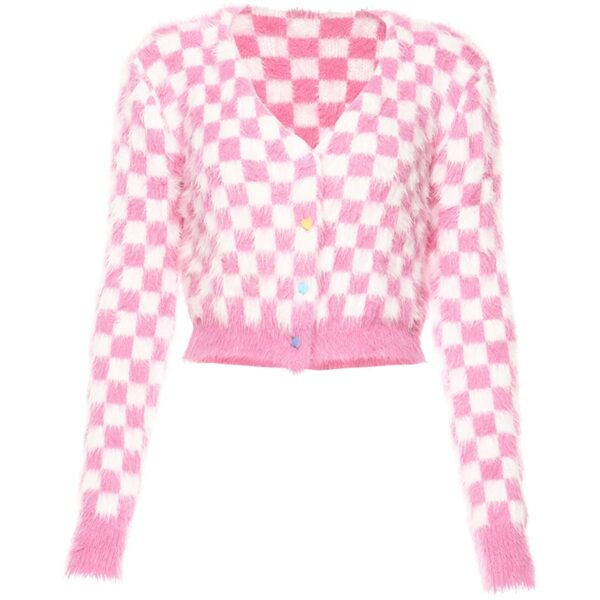 Soft Pink Fluffy Checkered Cropped Cardigan 4 - Orezoria Aesthetic Outfits Shop - Aesthetic Clothing - eGirl Outfits - Soft Girl Outfits