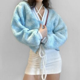 Soft Plush Loose Light Blue Crop Coat 1- Orezoria Aesthetic Outfits Shop - Aesthetic Clothing - eGirl Outfits - Soft Girl Outfits
