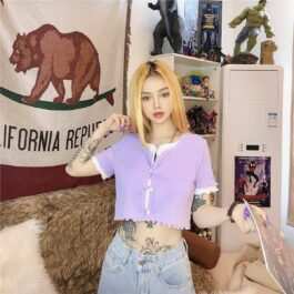 Soft Purple Cute Aesthetic Crop Top 1- Orezoria Aesthetic Outfits Shop - Aesthetic Clothing - eGirl Outfits - Soft Girl Outfits