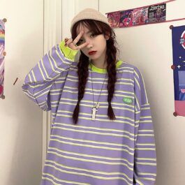 Soft Purple Striped Loose Long Sleeve 1 - Orezoria Aesthetic Outfits Shop - Aesthetic Clothing - eGirl Outfits - Soft Girl Outfits