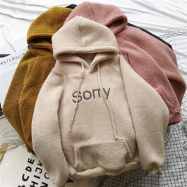Sorry Embroidery Soft Warm Core Hoodie 2 - Orezoria Aesthetic Outfits Shop - Aesthetic Clothing - eGirl Outfits - Soft Girl Outfits.psd