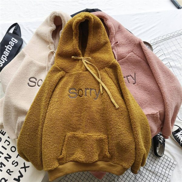 Sorry Embroidery Soft Warm Core Hoodie 3 - Orezoria Aesthetic Outfits Shop - Aesthetic Clothing - eGirl Outfits - Soft Girl Outfits.psd