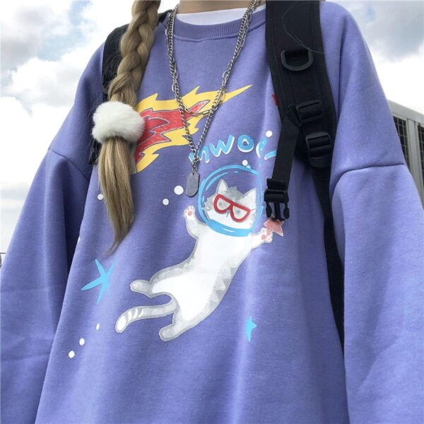 Space Cat Drawing Cute Aesthetic Sweatshirt 1 - Orezoria Aesthetic Outfits Shop - Aesthetic Clothing - eGirl Outfits - Soft Girl Outfits