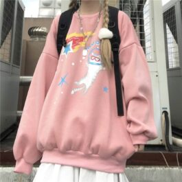 Space Cat Drawing Cute Aesthetic Sweatshirt 2 - Orezoria Aesthetic Outfits Shop - Aesthetic Clothing - eGirl Outfits - Soft Girl Outfits