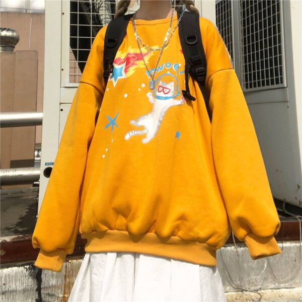 Space Cat Drawing Cute Aesthetic Sweatshirt 3 - Orezoria Aesthetic Outfits Shop - Aesthetic Clothing - eGirl Outfits - Soft Girl Outfits