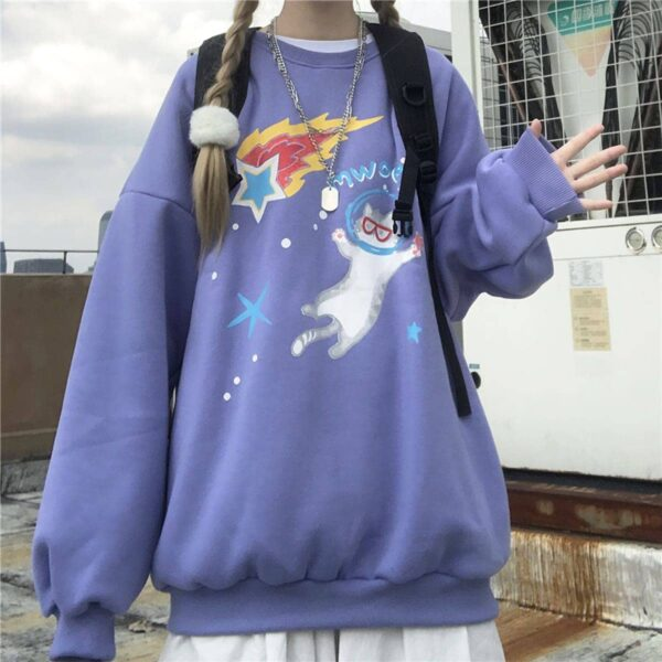 Space Cat Drawing Cute Aesthetic Sweatshirt 4 - Orezoria Aesthetic Outfits Shop - Aesthetic Clothing - eGirl Outfits - Soft Girl Outfits
